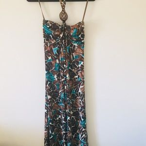 Le Château Empire Maxi Strapless Abstract Dress